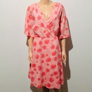 Torrid Peach/Blush Pink Floral Midi Dress (26)